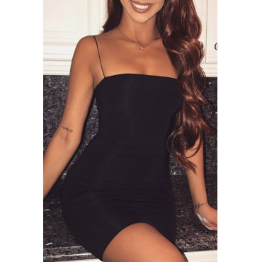 Lovely Sexy Spaghetti Strap Sleeveless Black Polyester Sheath Mini Dress