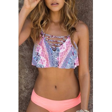 Lovely Pretty Lace-up Printing Pink Polyester Two-piece Swimwears
