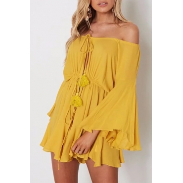 Lovely Fashion Bateau Neck Flared Sleeves Lace-up Yellow Chiffon One-piece Short Jumpsuits