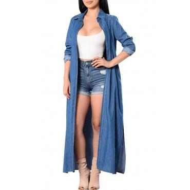 Lovely Stylish Turndown Collar Side Slit Blue Denim Long Trench Coat