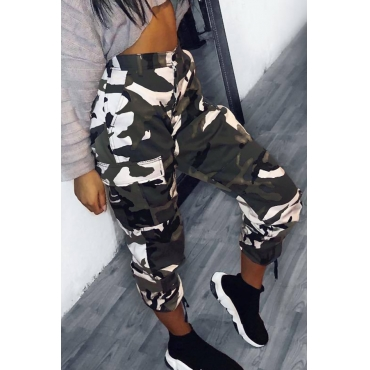 Lovely Stylish Mid Waist Camouflage Polyester White Pants(Without Belt)