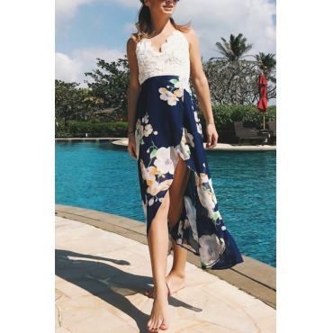 Lovely Sexy V Neck Floral Printed Lace Patchwork Blue Chiffon Ankle Length Dress