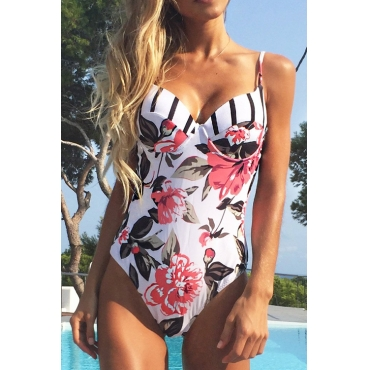 Lovely Trendy Backless Floral Printed White Polyester+Spandex One-piece Swimwears
