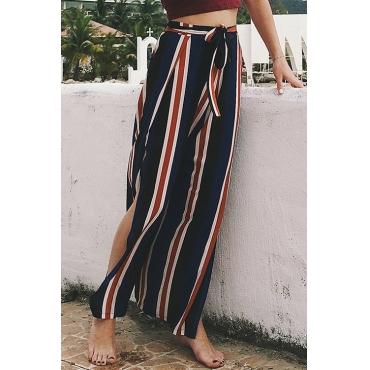 Moda Encantadora Mid Cintura Elástica A Rayas Patchwork Mezcla De Pantalones Sueltos (con Correa)