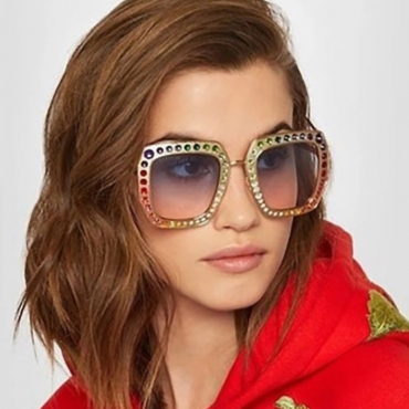 Lovely Chic Diamante Decorative Gold Square Frame PC Sunglasses