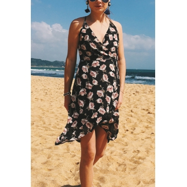 Lovely Casual V Neck Backless Floral Printed Black Chiffon Mini Dress