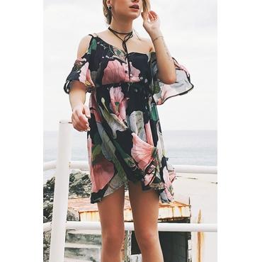 Vestido De Gasa Negro Impreso Floral Del Volante Del Rocío Ocasional Encantador Del Rocío