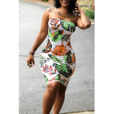 Lovely Sexy Bateau Neck Non Positioning Leaf Printed Green Polyester Mini Dress
