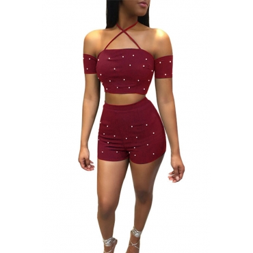 Lovely Sexy Bateau Neck Nailed Pearl Wine Red Twilled Satin Two-piece Shorts Set