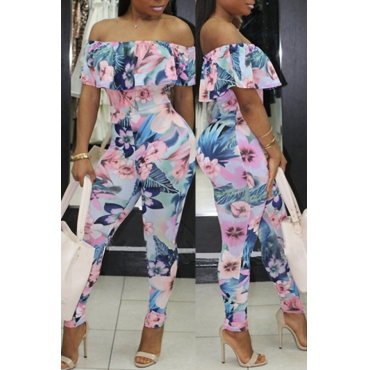 Lovely Sexy Bateau Neck Flounce Floral Printed Blue Qmilch One-piece Jumpsuits