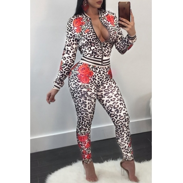 Lovely Casual Mandarin Collar Leopard Printed Black Polyester Two-Piece Pants Set