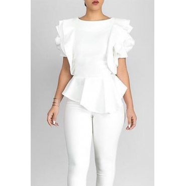 Lovely Pretty Round Neck Short Sleeves Flounce White Nylon Shirts