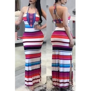 Lovely Sexy U neck Striped Patchwork Cotton Blend Floor length Dress