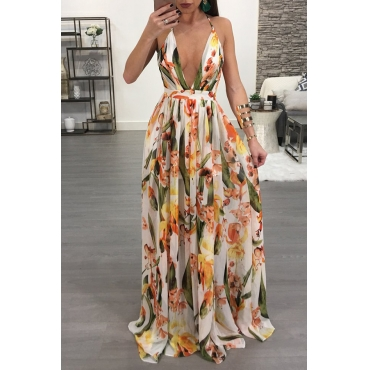 Lovely Sexy V Neck Printed Yellow Chiffon Floor length Dress