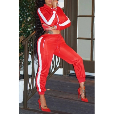 Lovely Casual Mandarin Collar Striped Red Striped Two-piece Pants Set