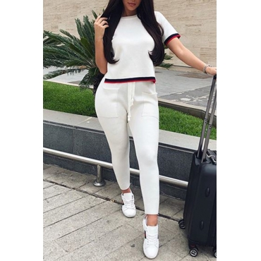 Lovely Fashion Round Neck Patchwork White Polyester Two-Piece Pants Set