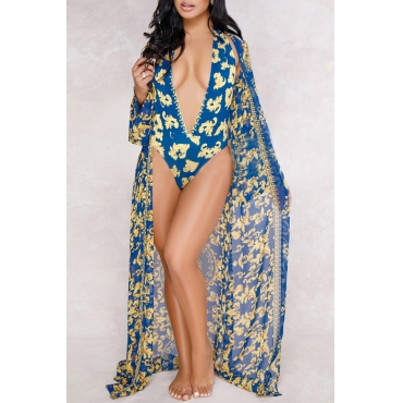 Lovely Sexy Deep V Neck Backless Printing Blue Polyester One-piece Swimwears(With Cover-Ups)