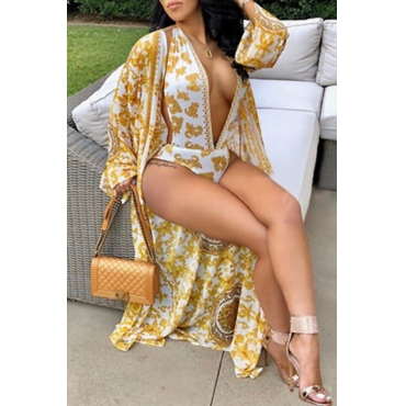 Lovely Sexy Deep V Neck Backless Printing Gold Polyester One-piece Swimwears(With Cover-Ups)