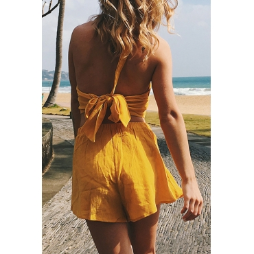 Lovely Sexy Round Neck Backless Bandage Yellow Polyester Two-piece Shorts Set