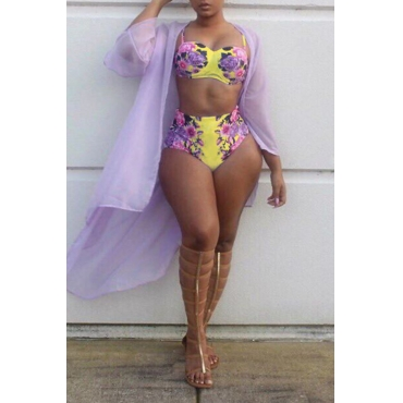 Lovely Sexy Printed Yellow Polyester Two-piece Swimwear (Without  Shawl)