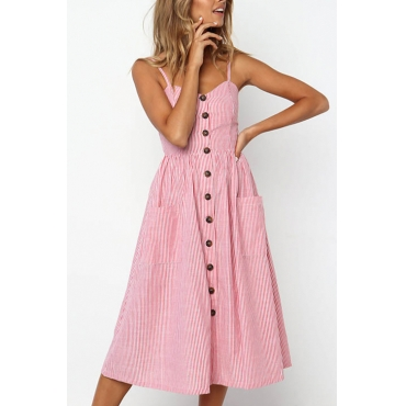Lovely Fashion Spaghetti Strap Sleeveless Single Breasted Pink Blending Mid Calf Dress