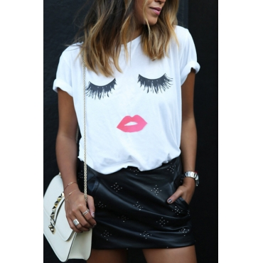 Lovely Casual Round Neck Short Sleeves Cartoon Printed White Cotton Blends T-shirt