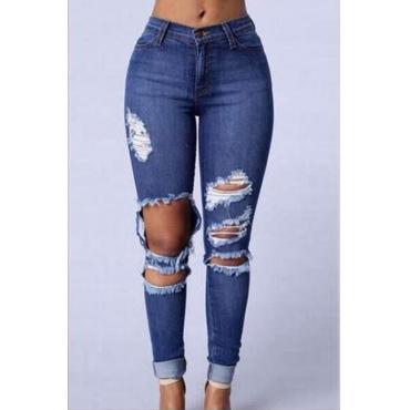 LovelyTrendy Mid Waist Broken Holes Blue Denim Zipped Jeans