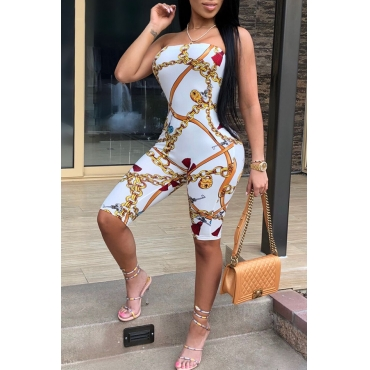 Lovely Sexy Dew Shoulder Chain Printed White Polyester One-piece Short Jumpsuits