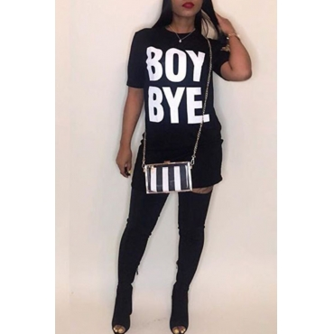 Lovely Casual Round Neck Short Sleeves Letters Printed Black Fiber Mini Dress