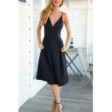 Lovely Trendy V Neck Flared Black Cotton Blends One-piece Jumpsuits