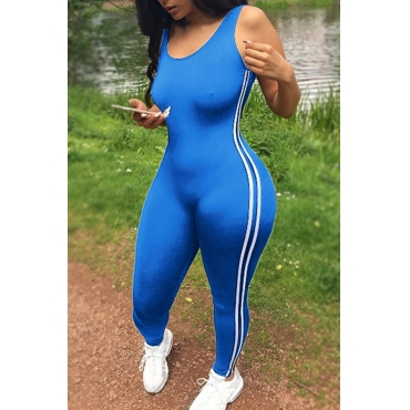 Lovely Leisure U-shaped Neck Sleeveless Patchwork Light Blue Qmilch One-piece Skinny Jumpsuits