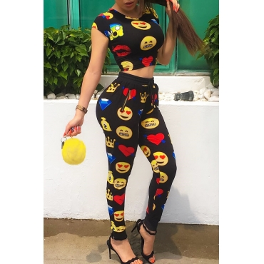 Lovely Casual Round Neck Cartoon Printed Black Polyester Two-Piece Pants Set