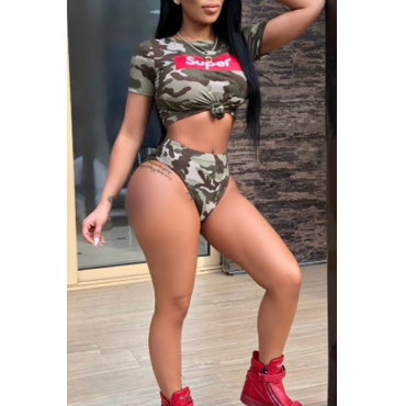 Lovely Sexy Round Neck Camouflage Printed Two-piece Swimwear