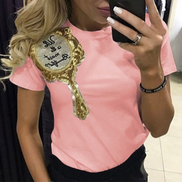 Lovely Leisure O Neck Short Sleeves Embroidered Pink Cotton T-shirt
