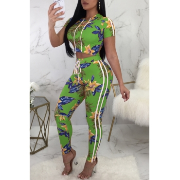 Lovely Euramerican Round Neck Printed Green Polyester Two-piece Pants Set