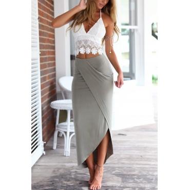 Lovely Bohemian V Neck Lace Floral Irregular Hem White+Grey Polyester Two-piece Skirt Set