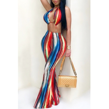 LovelyEuramerican Backless Striped Printed One-piece Jumpsuits