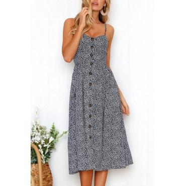 Lovely Fashion Spaghetti Strap Sleeveless Printed Deep Blue Cotton Blend Knee Length Dress