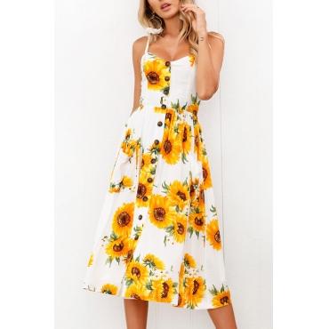 Lovely Fashion Spaghetti Strap Sleeveless Printed White Cotton Blend Knee Length Dress