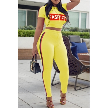 Lovely Casual Hooded Collar Striped Letters Printed Yellow Polyester Two-Piece Pants Set
