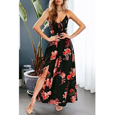 Lovely Euramerican V Neck Side Slit Printed Black Polyester Ankle Length Dress