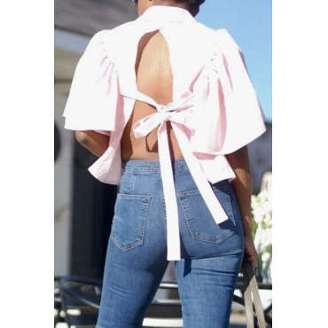 Lovely Pretty Mandarin Collar Pineapple Sleeves Backless Bow Pink Modal Shirts