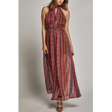Lovely Bohemian Turtleneck Side Slit Printed Rayon Ankle Length Dress