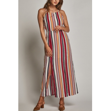 Lovely Chic Spaghetti Strap Sleeveless Color Striped Rayon Mid Calf Dress