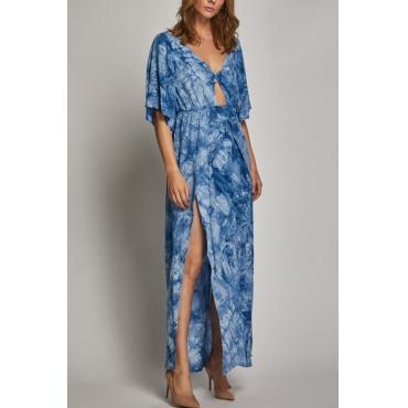 Lovely Bohemian V Neck Side Slit Hollow-out Printing Blue Cotton Blend Mid Calf Dress