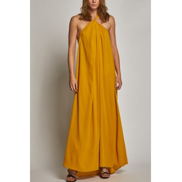 Lovely Bohemian Halter Neck Backless Yellow Rayon Floor Length Dress