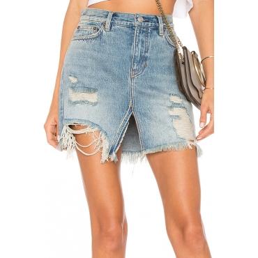 Lovely Trendy Mid Waist Broken Holes Torn Edges Blue Cotton Blend Mini Skirts