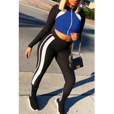 Lovely Fashion Round Neck Long Sleeves Striped Blue Polyester Two-Piece Pants Set