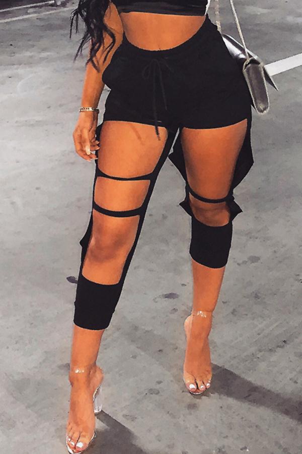 Moda Encantadora Cintura Elástica Media Agujeros Rotos Mezcla De Algodón Negro Pantalones Harlan