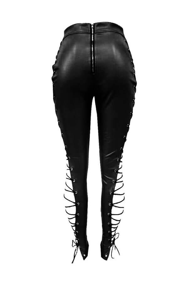 Pantalón De Cuero Negro Con Cordones Y Cintura Alta Elástica De Lovelyfashion